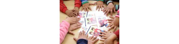 children with cards