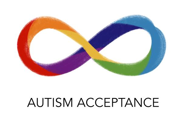 A raindow colored infinity symbol displayed above a text that reads Autism Acceptance
